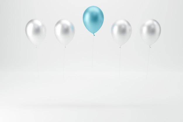 Ein blauer ballon fliegt weg von anderen weißen ballons auf weißem hintergrund.