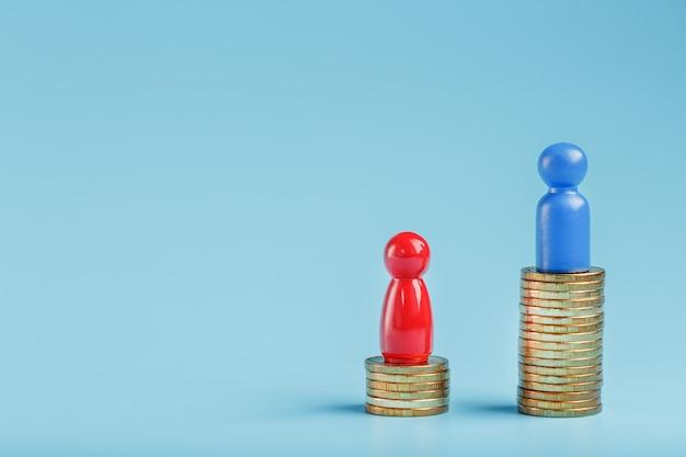 Ein blauer erfolgreicher geschäftsmann mit einem großen gewinn auf einem stapel goldmünzen und ein roter weniger erfolgreicher geschäftsmann mit kleinen firmen auf einem blauen hintergrund.