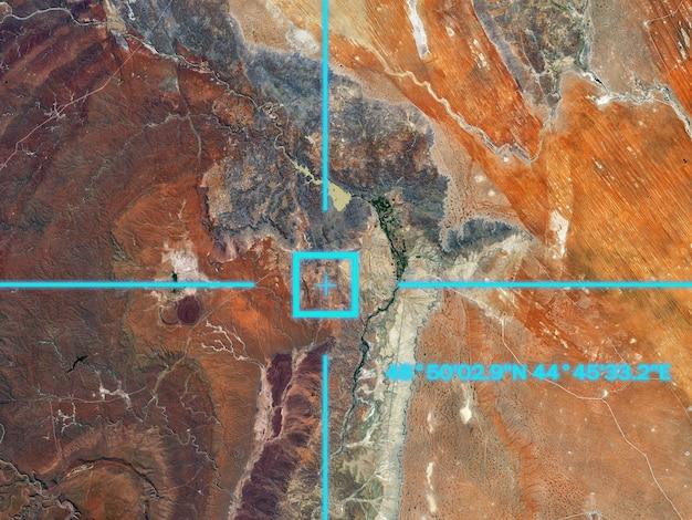 Ein blick vom satelliten auf die erdoberfläche, geolokalisierung, gps-koordinaten.