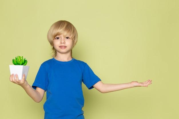 Ein blonder junge der vorderansicht im blauen t-shirt, das kleine grüne pflanze auf dem steinfarbenen raum hält