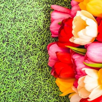 Ein bündel der hellen frischen bunten tulpen auf einem grashintergrund