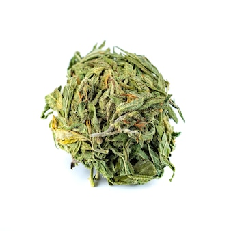 Ein bündel trockenes medizinisches cannabis, marihuana für medizinische zwecke, isoliert auf weiß