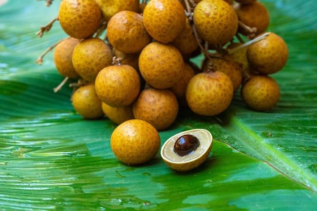 Ein bündel von longanzweigen auf einem hintergrund des grünen bananenblattes. vitamine, obst, gesunde lebensmittel.