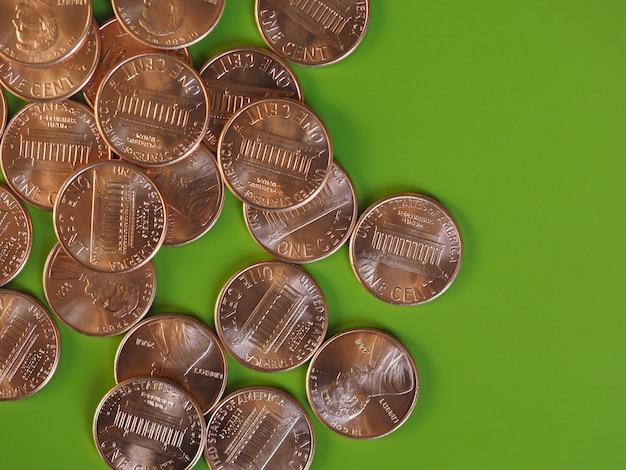 Ein-cent-dollar-münzen, vereinigte staaten mit textfreiraum
