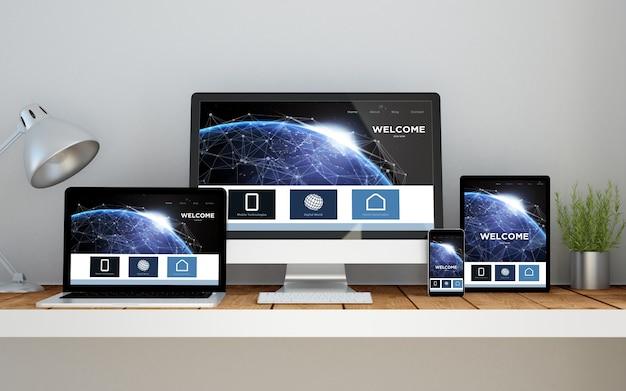 Ein computer, ein laptop, ein smartphone und ein tablet auf einem desktop-arbeitsbereich mit einer auf erde ansprechenden online-website auf dem bildschirm