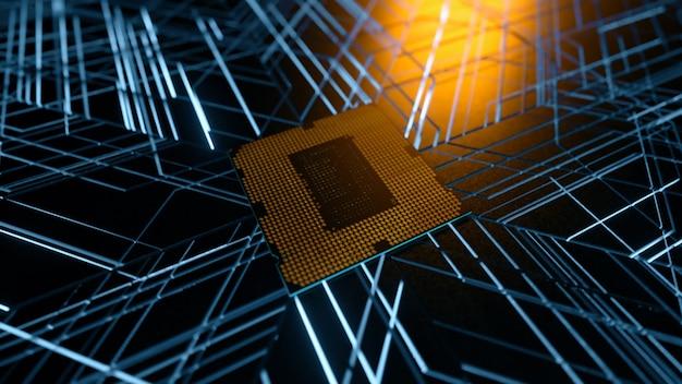 Ein computerprozessor mit millionen von verbindungen und signalen. technologie-cpu-hintergrund.
