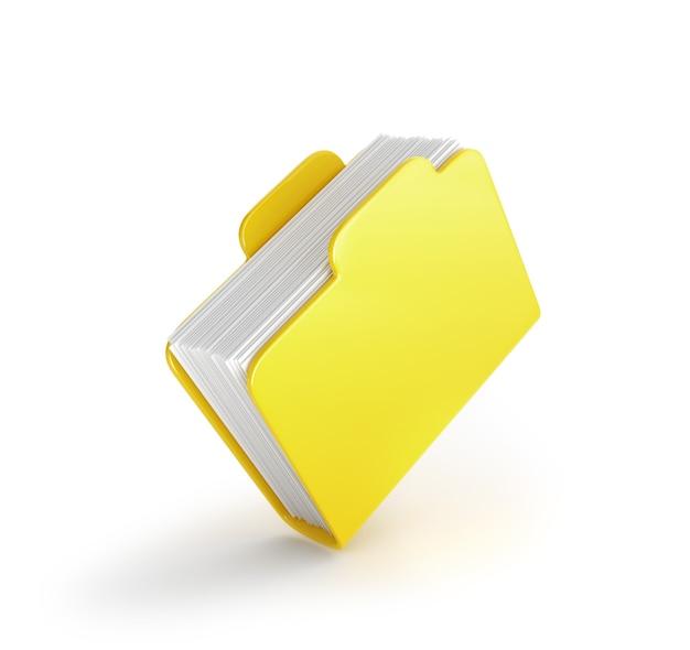Ein dicker gelber ordner für daten isoliert auf weiß