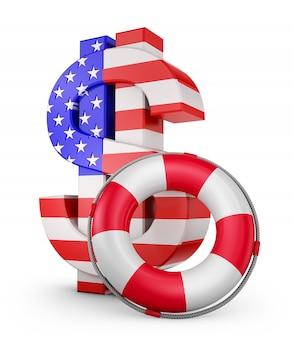 Ein dollarzeichen in den farben der amerikanischen flagge und ein rettungsring. 3d-rendering.