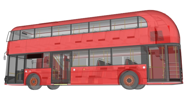Ein doppeldeckerbus, ein durchscheinendes gehäuse, unter dem viele innenelemente und interne busteile sichtbar sind