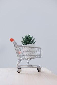 Ein einkaufswagen aus einem supermarkt oder ein korb