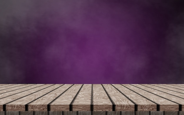 Ein einsamer leerer holztisch auf dunkelviolettem und rauchigem hintergrund, um ihr produkt zu simulieren.