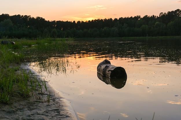 Ein einsamer stumpf im see, ufer, gras und wasseroberfläche bei sonnenuntergang, umgeben von einem dichten grünen wald. see lebyazhye, kasan.
