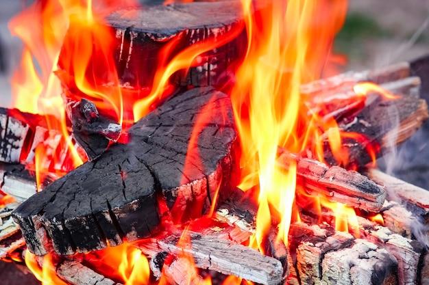 Ein feuer mit kohlen und feuer auf naturpicknickhintergrund. brennt ein lagerfeuer für essen auf der straße aus