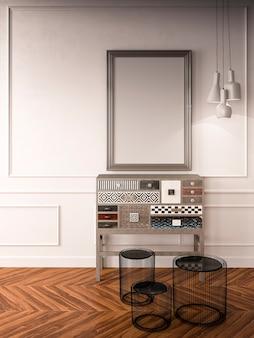 Ein fotorahmen für modell und mosaik sideboard im wohnzimmer, 3d-rendering