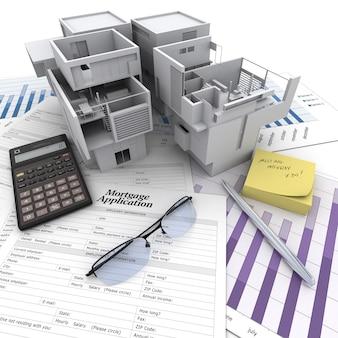 Ein gebäude auf einem tisch mit hypothekenantragsformular, taschenrechner, bauplänen usw ..
