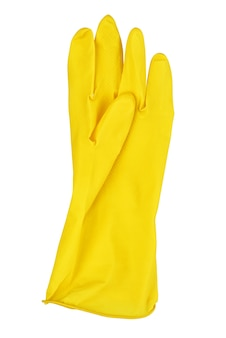 Ein gelber gummihandschuhe isoliert auf weißem hintergrund