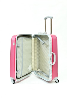 Ein geöffnetes rosafarbenes gepäck, welches die funktionen nach innen zeigt