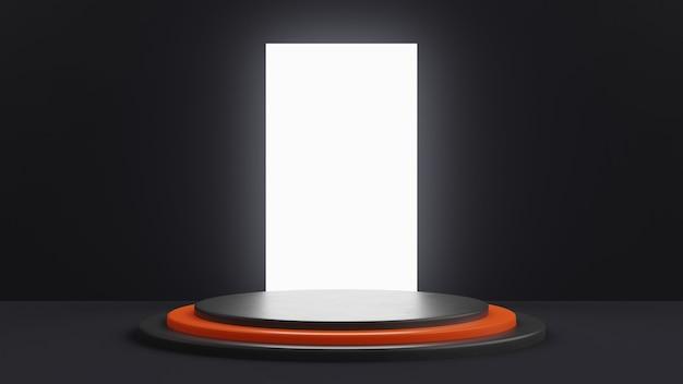 Ein gestuftes podest in schwarz mit einer orangefarbenen stufe in der mitte. großes weißes licht auf rechteckigem hintergrund. 3d-rendering.
