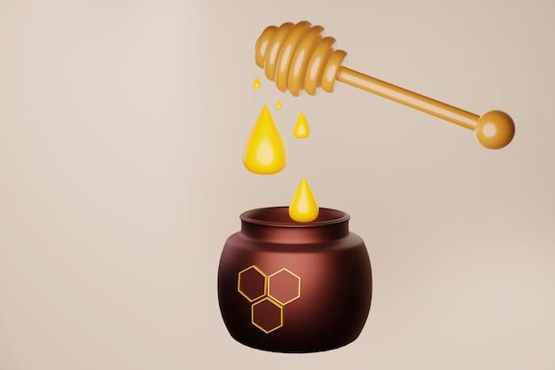 Ein glas honig, in das tropfen von einem löffel fallen 3d-darstellung