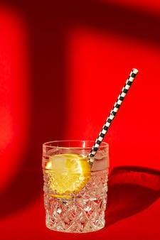 Ein glas wasser und zitrone an einer roten wand. gesundes essen. minimalismus.