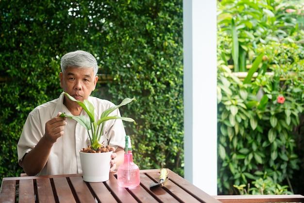 Ein glücklicher und lächelnder asiatischer alter älterer mann pflanzt nach dem ruhestand in einem haus für ein hobby. konzept eines glücklichen lebensstils und einer guten gesundheit für senioren.