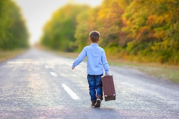 Ein glückliches kind mit einem koffer auf der straße in der parkreise