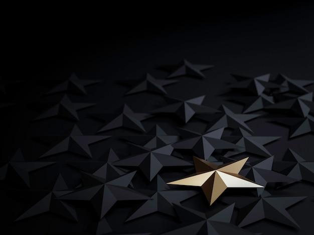 Ein goldener stern auf schwarzen sternen auf dunklem hintergrund für herausragende, unterschiedliche kreative denkideen für kundenzufriedenheit und marketingkonzept durch 3d-rendering.