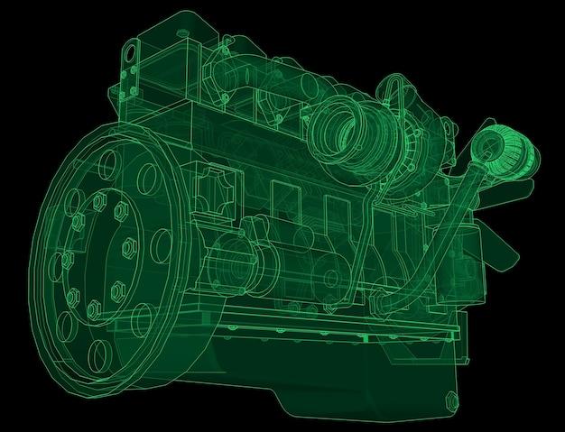 Ein großer dieselmotor, bei dem der lkw in den höhenlinien auf millimeterpapier dargestellt ist. die konturen der grünen linie auf schwarzem hintergrund.