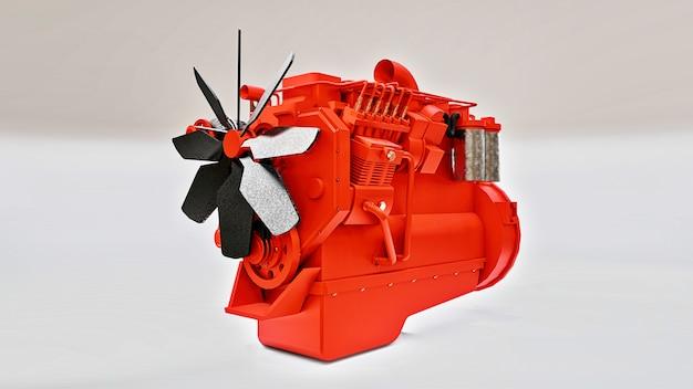 Ein großer dieselmotor mit dem abgebildeten lkw