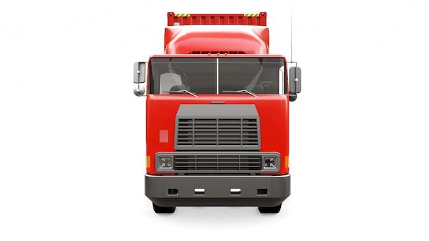 Ein großer roter retro-lkw mit einem schlafteil und einer aerodynamischen erweiterung trägt einen anhänger mit einem seecontainer
