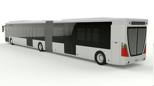 Ein großer stadtbus mit einem zusätzlichen länglichen teil für große passagierkapazität während der hauptverkehrszeit oder für den transport von personen in dicht besiedelten gebieten. modellvorlage für die platzierung ihrer inschriften