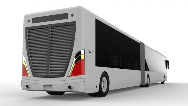 Ein großer stadtbus mit einem zusätzlichen länglichen teil für große passagierkapazität während der hauptverkehrszeit oder personentransport. modellvorlage für die platzierung ihrer bilder und inschriften.