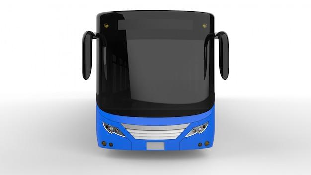 Ein großer stadtbus mit einem zusätzlichen länglichen teil für große passagierkapazität während der hauptverkehrszeit oder personentransport. modellvorlage zum platzieren ihrer bilder und inschriften.