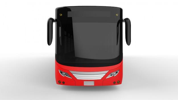 Ein großer stadtbus mit einem zusätzlichen länglichen teil für große passagierkapazität