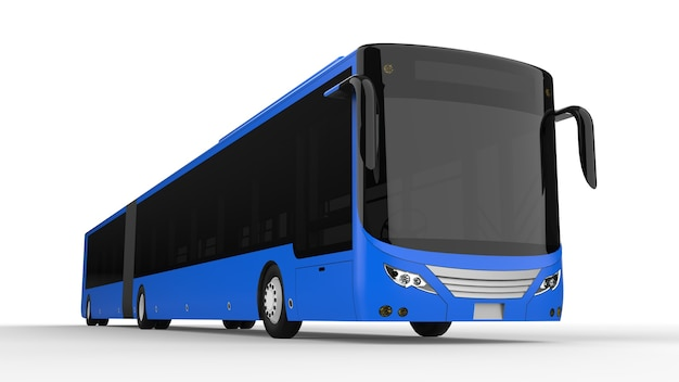 Ein großer stadtbus mit einem zusätzlichen verlängerten teil für eine große fahrgastkapazität während der hauptverkehrszeit