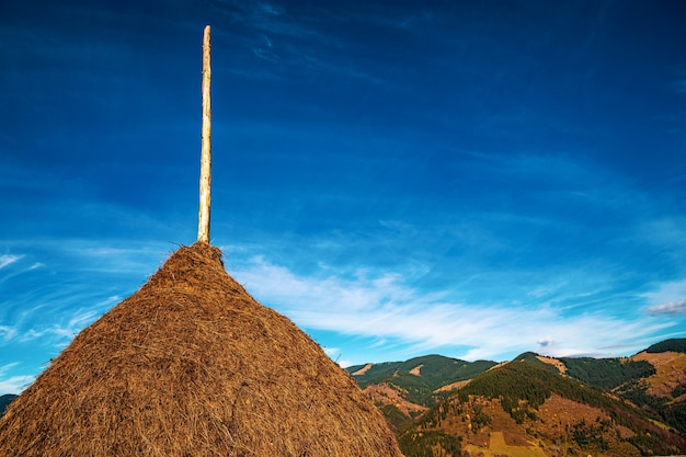Ein großer stapel trockenes heu vor der kulisse der wunderschönen herbstnatur der karpaten und dem außergewöhnlich blauen himmel