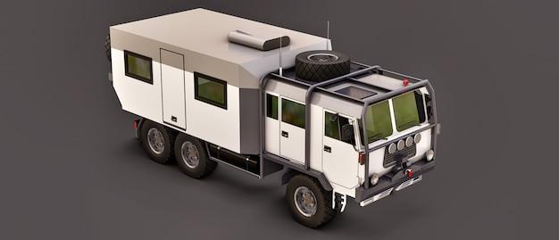 Ein großer weißer lastwagen auf einer grauzone, vorbereitet für lange und schwierige expeditionen in einer abgelegenen gegend. lkw mit einem haus auf rädern. 3d-illustrationen.