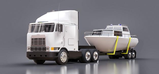 Ein großer weißer lkw mit anhänger zum transport eines bootes. 3d-rendering.