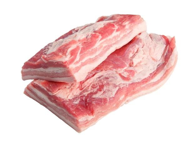 Ein großes stück rohes fleisch frisches schweinefleisch. picknick schulter hintern teil. isoliert.