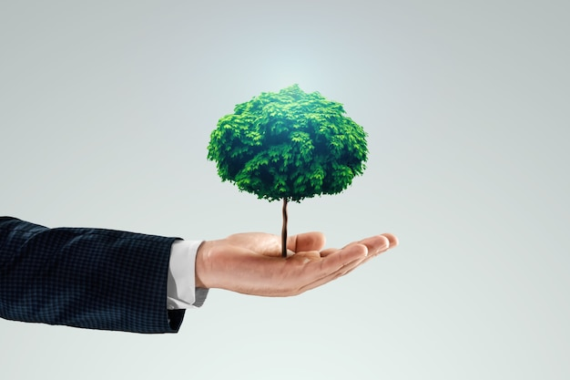 Ein grüner baum wächst aus der hand eines mannes.