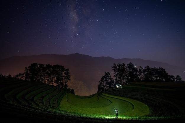 Ein grüner feldhintergrund der milchstraße und des reises