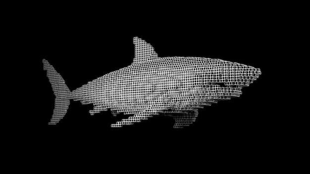Ein hai aus vielen würfeln auf einer schwarzen uniform