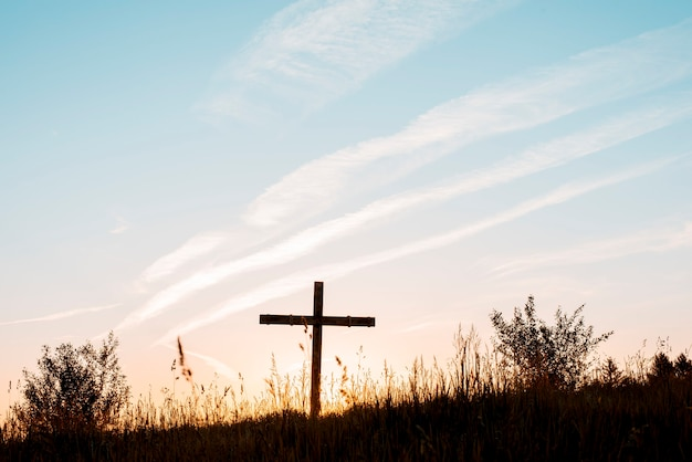 Ein handgemachtes holzkreuz im feld unter einem blauen himmel