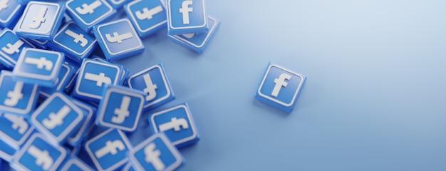 Ein haufen facebook-logos auf blau