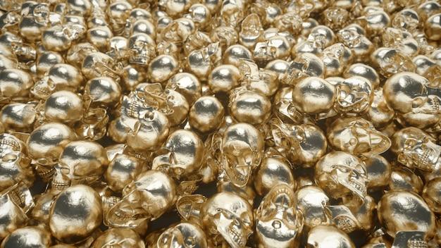 Ein haufen goldener schädel