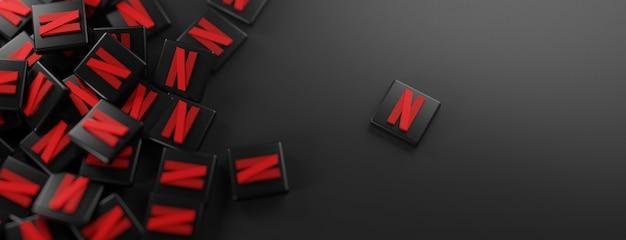 Ein haufen netflix-logos auf schwarz