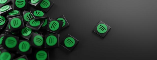 Ein haufen spotify-logos auf schwarz