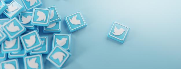 Ein haufen twitter-logos auf blau