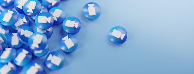 Ein haufen zoom-logos auf blau
