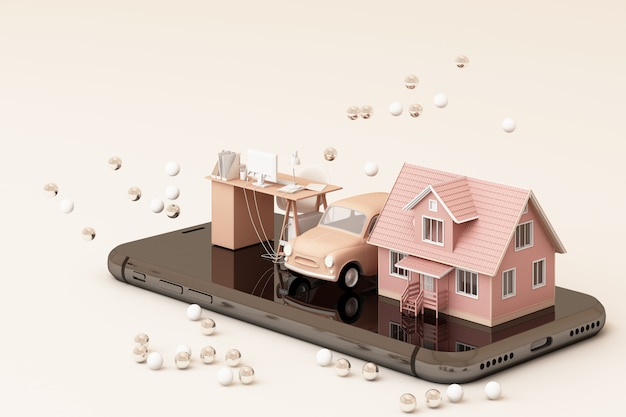Ein haus und ein oldtimer und ein arbeitstisch am telefon in der rosa farbfarbe 3d-wiedergabe